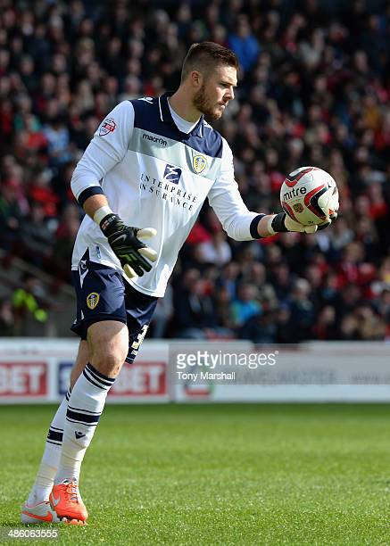 Jack Butland of Leeds United during the Sky Bet Championship match between Barnsley and Leeds United at Oakwell on April 19 2014 in Barnsley England