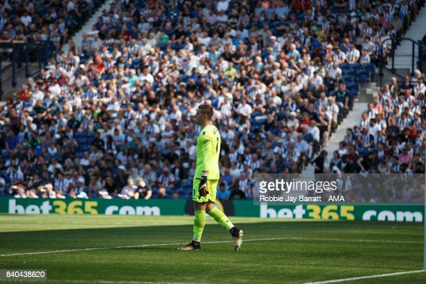 Jack Butland of Stoke City and BET365 Branding during the Premier League match between West Bromwich Albion and Stoke City at The Hawthorns on August...