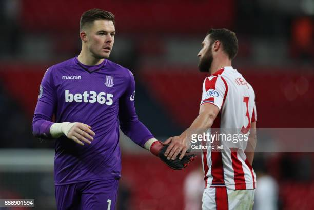 Jack Butland of Stoke City and Erik Pieters of Stoke City during the Premier League match between Tottenham Hotspur and Stoke City at Wembley Stadium...