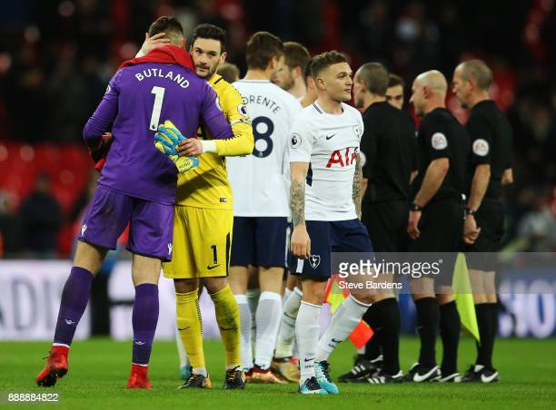 Jack Butland of Stoke City and Hugo Lloris of Tottenham Hotspur embrace after the Premier League match between Tottenham Hotspur and Stoke City at...