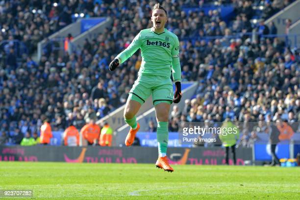 Jack Butland of Stoke City celebrates after Xherdan Shaqiri of Stoke City scored to make it 01 during the Premier League match between Leicester City...