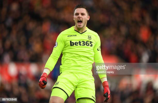 Jack Butland of Stoke City celebrates his sides first goal during the Premier League match between Stoke City and West Bromwich Albion at Bet365...