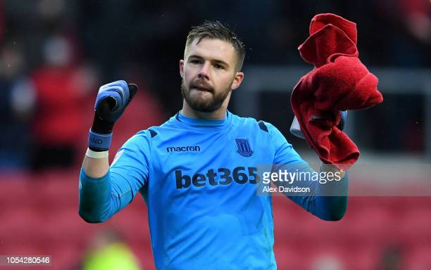 Jack Butland of Stoke City celebrates victory during the Sky Bet Championship match between Bristol City and Stoke City at Ashton Gate on October 27...