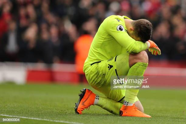 Jack Butland of Stoke City dejected after conceeding a second goal during the Premier League match between Arsenal and Stoke City at Emirates Stadium...