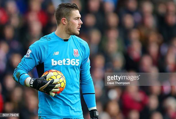 Jack Butland of Stoke City during the Barclays Premier League match between Stoke City and Manchester United at the Britannia Stadium on December 26...