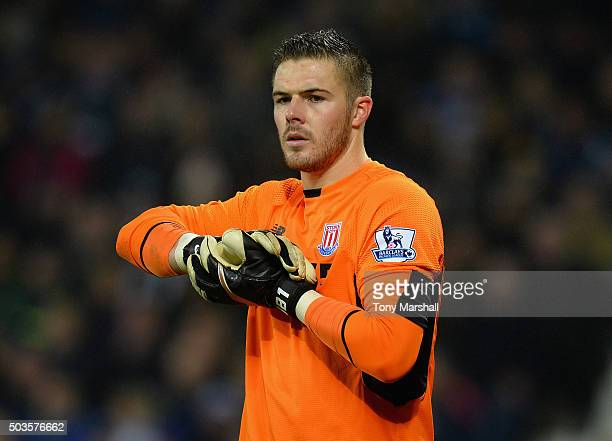 Jack Butland of Stoke City during the Barclays Premier League match between West Bromwich Albion and Stoke City at The Hawthorns on January 2 2016 in...