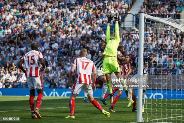 Jack Butland of Stoke City during the Premier League match between West Bromwich Albion and Stoke City at The Hawthorns on August 27 2017 in West...