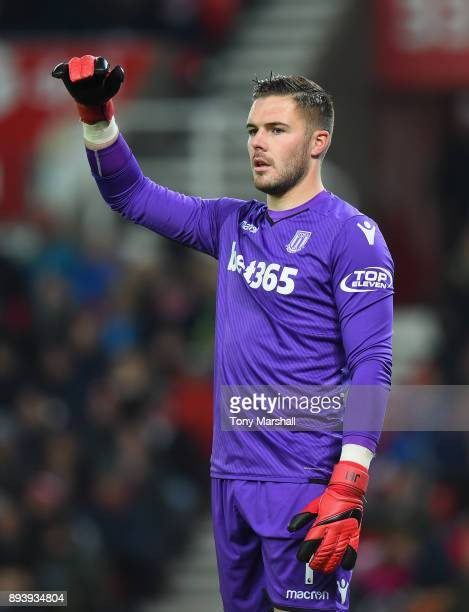 Jack Butland of Stoke City during the Premier League match between Stoke City and West Ham United at Bet365 Stadium on December 16 2017 in Stoke on...
