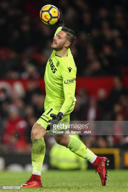 Jack Butland of Stoke City during the Premier League match between Manchester United and Stoke City at Old Trafford on January 15 2018 in Manchester...
