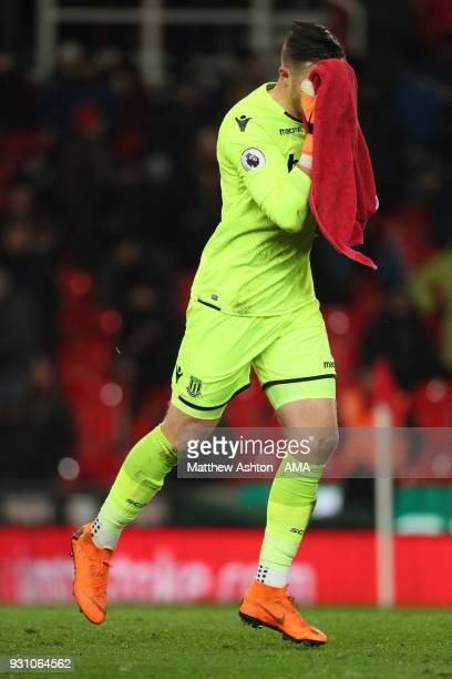 Jack Butland of Stoke City during the Premier League match between Stoke City and Manchester City at Bet365 Stadium on March 12 2018 in Stoke on...