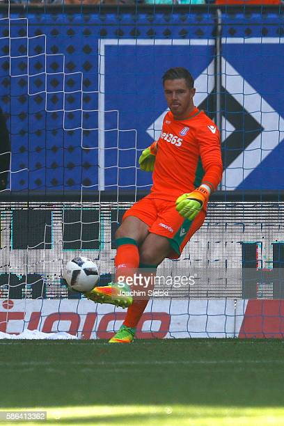 Jack Butland of Stoke City during the preseason friendly match between Hamburger SV and Stoke City at Volksparkstadion on August 6 2016 in Hamburg...