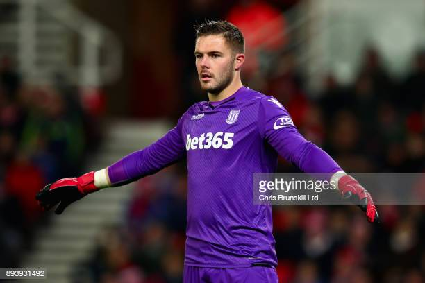 Jack Butland of Stoke City gestures during the Premier League match between Stoke City and West Ham United at Bet365 Stadium on December 16 2017 in...