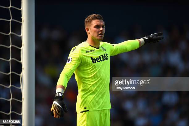 Jack Butland of Stoke City gives his team instructions during the Premier League match between West Bromwich Albion and Stoke City at The Hawthorns...