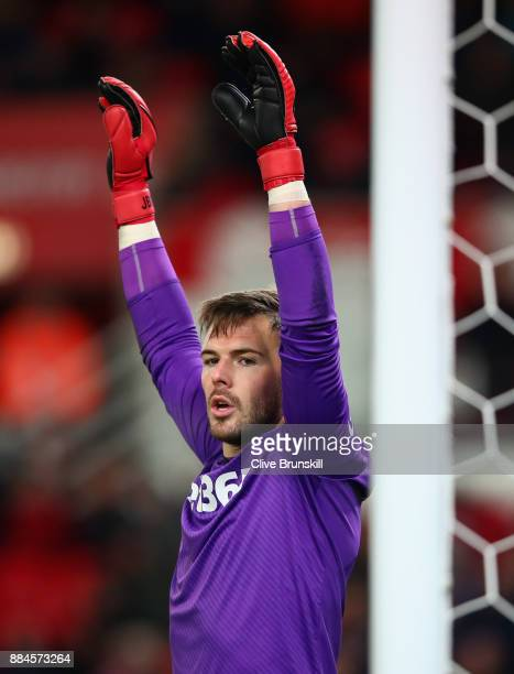 Jack Butland of Stoke City in action during the Premier League match between Stoke City and Swansea City at Bet365 Stadium on December 2 2017 in...