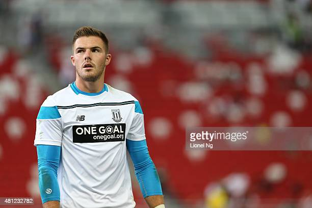 Jack Butland of Stoke City is pictured at the warm up before the Barclays Asia Trophy match between Stoke City and Singapore Select XI at the...