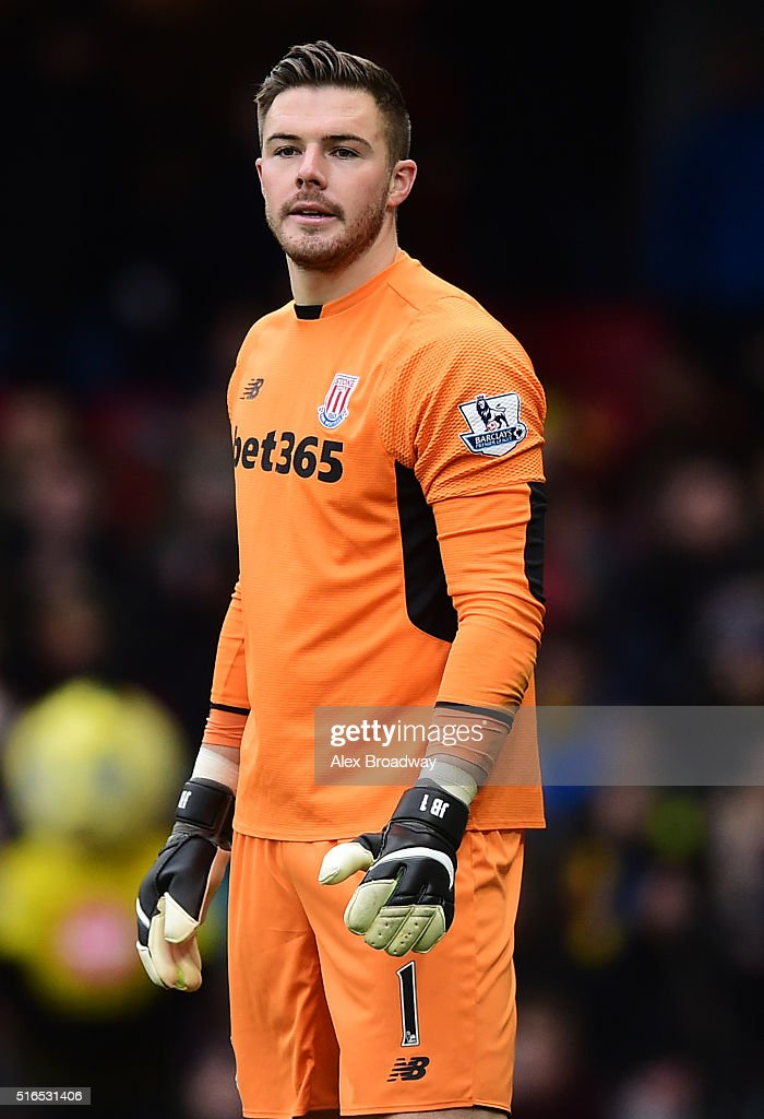 Jack Butland of Stoke City looks on during the Barclays Premier League match between Watford and Stoke City at Vicarage Road on March 19, 2016 in Watford, England.