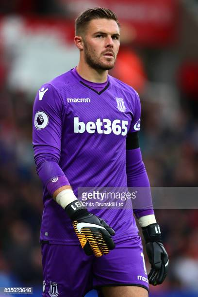Jack Butland of Stoke City looks on during the Premier League match between Stoke City and Arsenal at Bet365 Stadium on August 19 2017 in Stoke on...