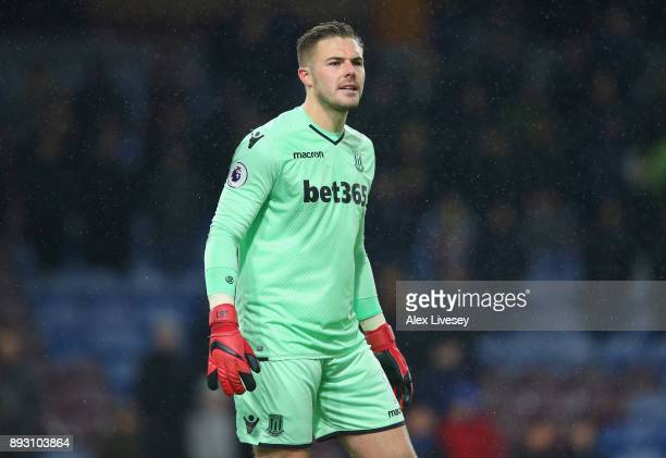 Jack Butland of Stoke City looks on during the Premier League match between Burnley and Stoke City at Turf Moor on December 12 2017 in Burnley England