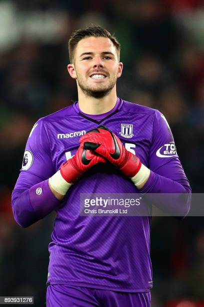 Jack Butland of Stoke City looks on during the Premier League match between Stoke City and West Ham United at Bet365 Stadium on December 16 2017 in...
