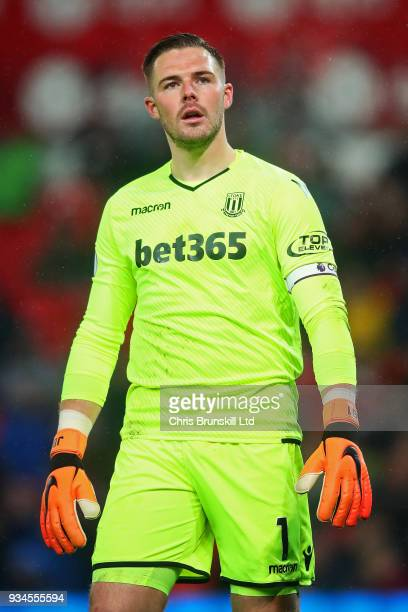 Jack Butland of Stoke City looks on during the Premier League match between Stoke City and Manchester City at Bet365 Stadium on March 12 2018 in...