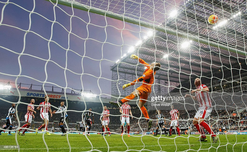 Jack Butland of Stoke City makes a save during the Barclays Premier League match between Newcastle United and Stoke City at St James' Park on October 31, 2015 in Newcastle upon Tyne, England.