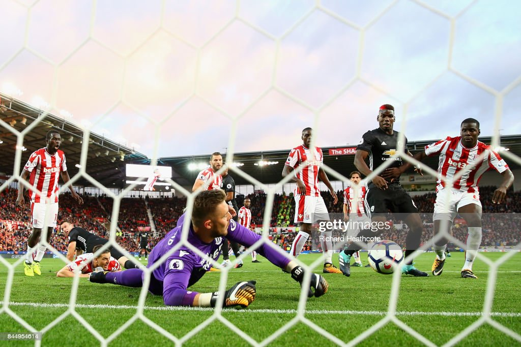 Jack Butland of Stoke City makes a save during the Premier League match between Stoke City and Manchester United at Bet365 Stadium on September 9, 2017 in Stoke on Trent, England.