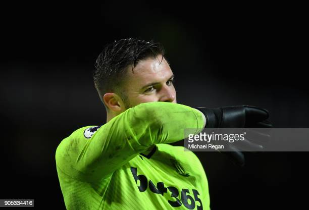 Jack Butland of Stoke City reacts during the Premier League match between Manchester United and Stoke City at Old Trafford on January 15 2018 in...
