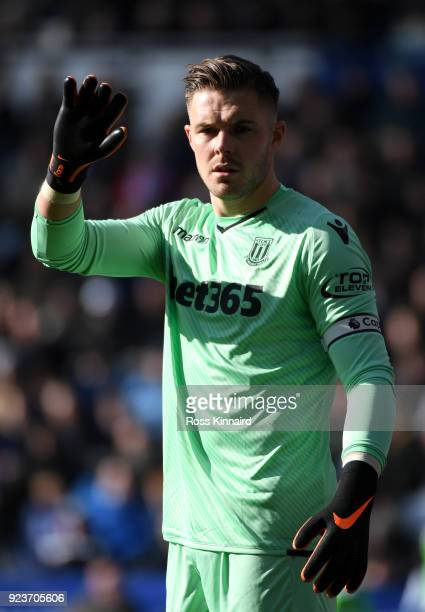 Jack Butland of Stoke City reacts during the Premier League match between Leicester City and Stoke City at The King Power Stadium on February 24 2018...