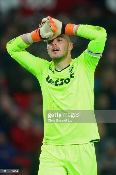 Jack Butland of Stoke City reacts during the Premier League match between Stoke City and Manchester City at Bet365 Stadium on March 12 2018 in Stoke...