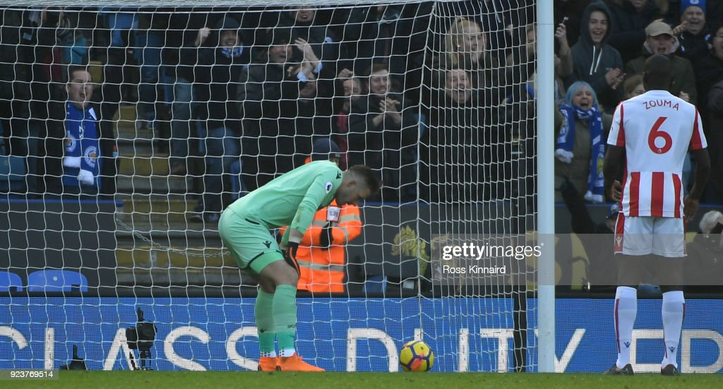 Jack Butland of Stoke City scores an own goal during the Premier League match between Leicester City and Stoke City at The King Power Stadium on February 24, 2018 in Leicester, England.