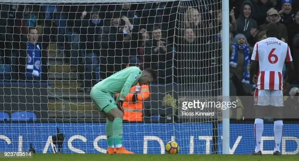 Jack Butland of Stoke City scores an own goal during the Premier League match between Leicester City and Stoke City at The King Power Stadium on...