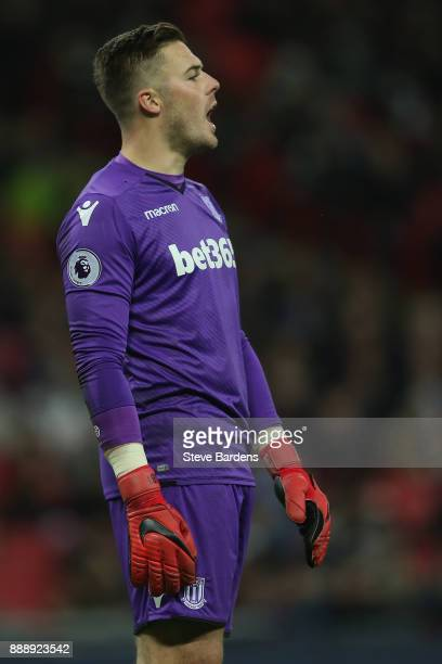 Jack Butland of Stoke City shouts instructions during the Premier League match between Tottenham Hotspur and Stoke City at Wembley Stadium on...