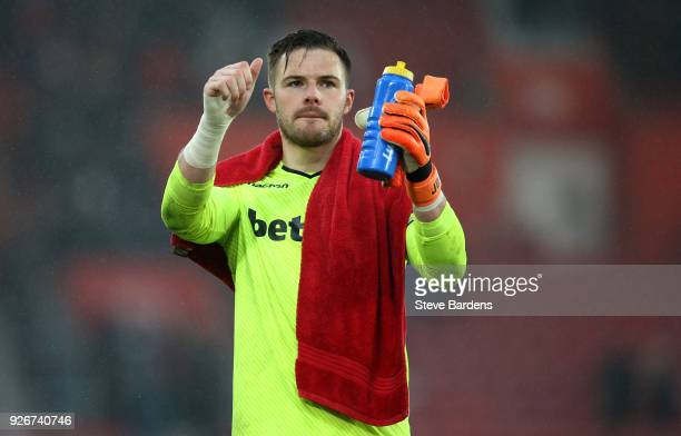 Jack Butland of Stoke City shows appreciation to the fans after the Premier League match between Southampton and Stoke City at St Mary's Stadium on...