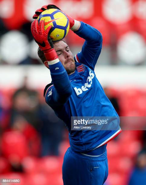 Jack Butland of Stoke City warms up prior to the Premier League match between Stoke City and Swansea City at Bet365 Stadium on December 2 2017 in...