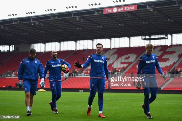 Jack Butland of Stoke City warms up prior to the Premier League match between Stoke City and West Ham United at Bet365 Stadium on December 16 2017 in...