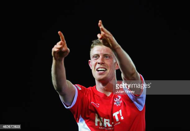 Jack Byrne of Kidderminster Harriers celebrates as he scores their second goal during the FA Cup with Budweiser Third round replay match between...