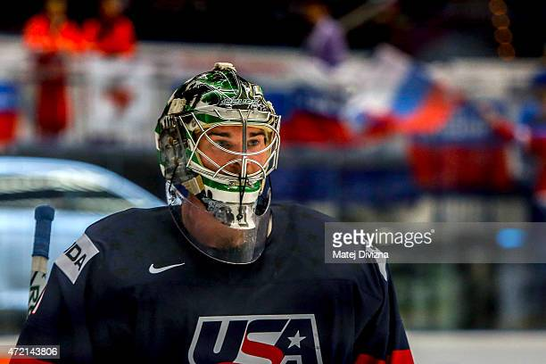 Jack Campbell, goalkeeper of USA, in action during the IIHF World Championship group B match between Russia and USA at CEZ Arena on May 4, 2015 in...