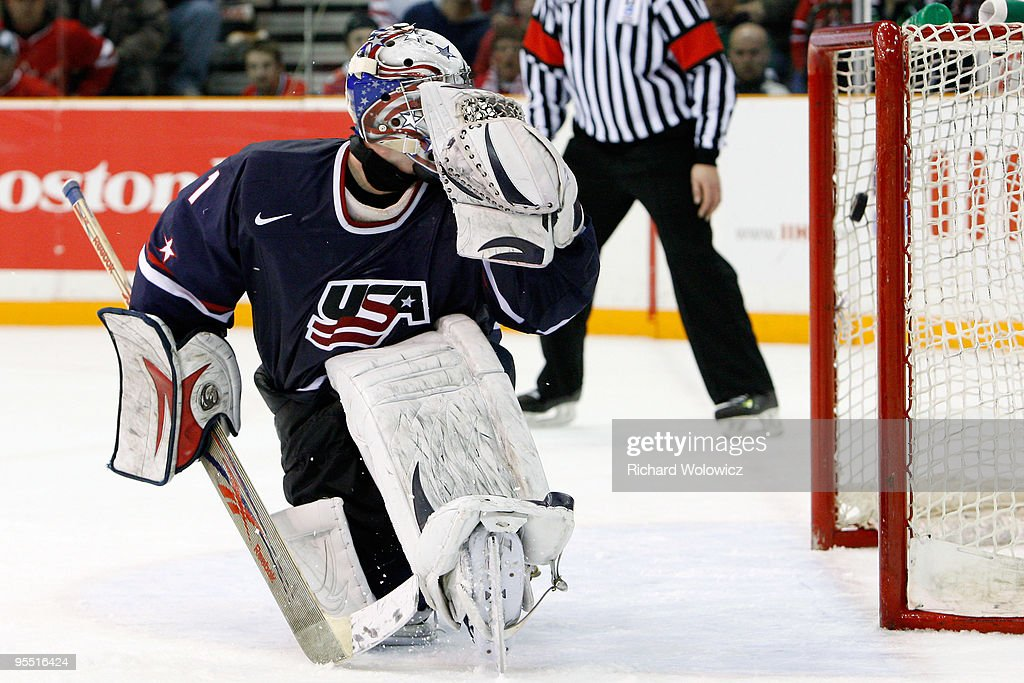 Jack Campbell #1 of Team USA lets in a goal during the 2010 IIHF World Junior Championship Tournament game against Team Canada on December 31, 2009 at the Credit Union Centre in Saskatoon, Saskatchewan, Canada. Team Canada defeated Team USA 5-4 in a shootout.