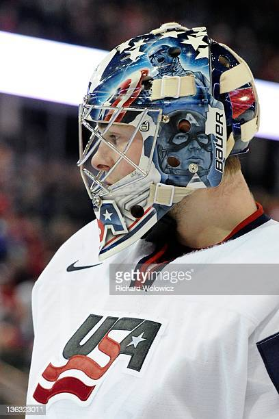 Jack Campbell of Team USA skates during the 2012 World Junior Hockey Championship game against Team Denmark at Rexall Place on December 26 2011 in...