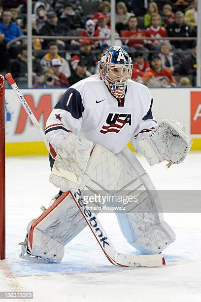 Jack Campbell of Team USA watches play during the 2012 World Junior Hockey Championship game against Team Denmark at Rexall Place on December 26 2011...