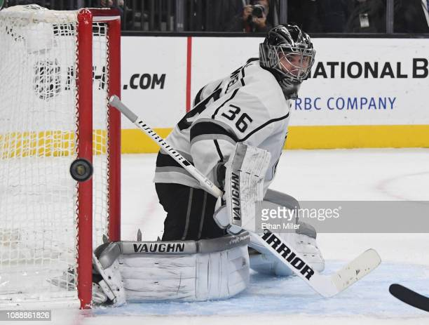 Jack Campbell of the Los Angeles Kings blocks a Vegas Golden Knights' shot in the second period of their game at TMobile Arena on January 01 2019 in...