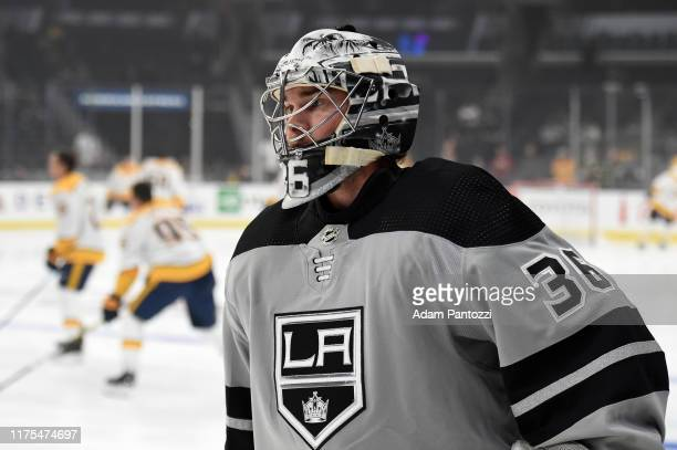 Jack Campbell of the Los Angeles Kings during warm ups against the Nashville Predators at STAPLES Center on October 12 2019 in Los Angeles California