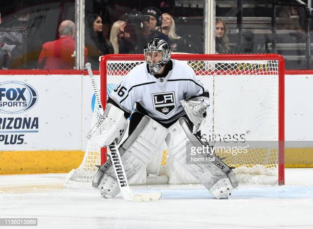 Jack Campbell of the Los Angeles Kings gets ready to make a save against the Arizona Coyotes at Gila River Arena on March 9 2019 in Glendale Arizona