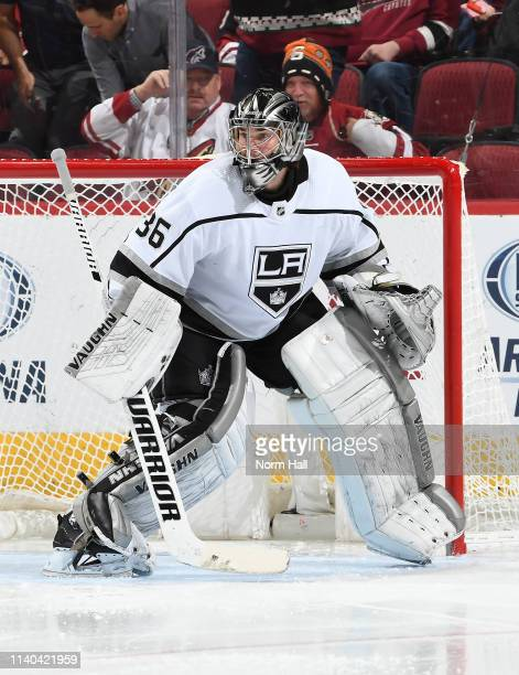 Jack Campbell of the Los Angeles Kings gets ready to make a save against the Arizona Coyotes at Gila River Arena on April 2 2019 in Glendale Arizona