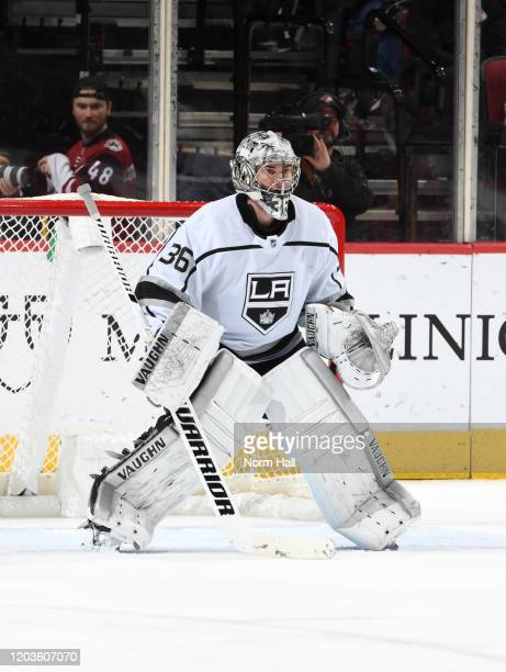 Jack Campbell of the Los Angeles Kings gets ready to make a save against the Arizona Coyotes at Gila River Arena on January 30 2020 in Glendale...