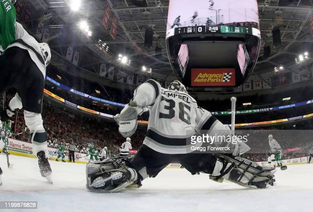 Jack Campbell of the Los Angeles Kings goes down in the crease to make a pad save during an NHL game against the Carolina Hurricanes on January 11...
