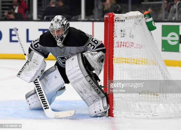 Jack Campbell of the Los Angeles Kings in goal during a 21 win over the Winnipeg Jets at Staples Center on November 30 2019 in Los Angeles California