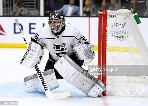 Jack Campbell of the Los Angeles Kings in goal during the third period in a 41 win over the Anaheim Ducks at Staples Center on November 6 2018 in Los...