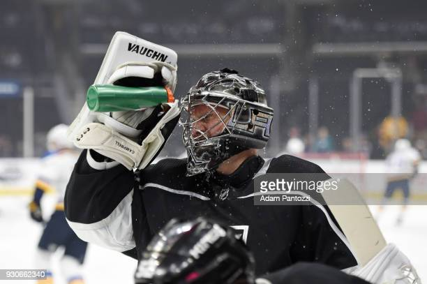 Jack Campbell of the Los Angeles Kings is seen before a game against the St Louis Blues at STAPLES Center on March 10 2018 in Los Angeles California