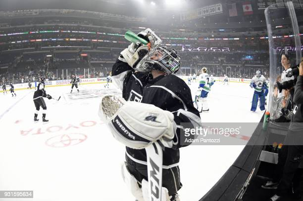 Jack Campbell of the Los Angeles Kings is seen before a game against the Vancouver Canucks at STAPLES Center on March 12 2018 in Los Angeles...